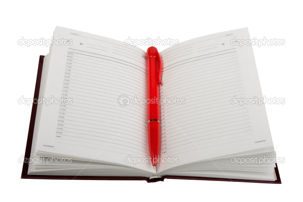Empty open diary and red ball point pen. Close-up. Isolated on white background. — Stock Photo #1007983