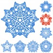 Royalty-Free Stock Vectorafbeeldingen: Set of five-rays crystal gradient snowfl