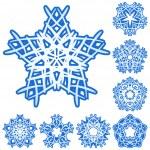 Set of five-rays crystal gradient snowfl — Stock Vector