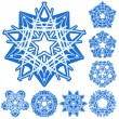 Royalty-Free Stock Vektorfiler: Set of five-rays crystal gradient snowfl