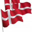 Kingdom of Denmark 3d flag. — Imagen vectorial