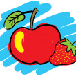 Royalty-Free Stock Vector Image: Strawberry and red apple.
