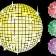 Royalty-Free Stock Imagem Vetorial: Colored set of mirror disco-balls.