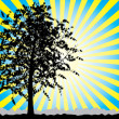 Royalty-Free Stock Vector Image: Tree silhouette on sky rays background.