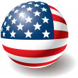 USA flag texture on ball. — Stock Vector #1009943