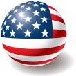 USA flag texture on ball. — Stock Vector