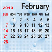 Calendar of February 2010 on abstract ba — Stock Vector
