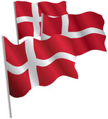 Kingdom of Denmark 3d flag. — Stock Vector