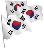 South Korea 3d flag. — Stock Vector