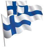Finland 3d flag. — Stock Vector