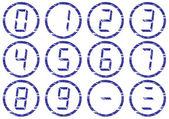 Liquid crystal digits icons set. — Stock Vector