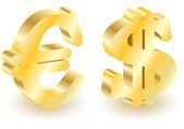 Dollar and euro money 3d symbols. — Stock Vector