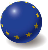 European union flag texture on ball. — Stock Vector