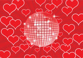 Disco ball on a red background. — Stock Vector