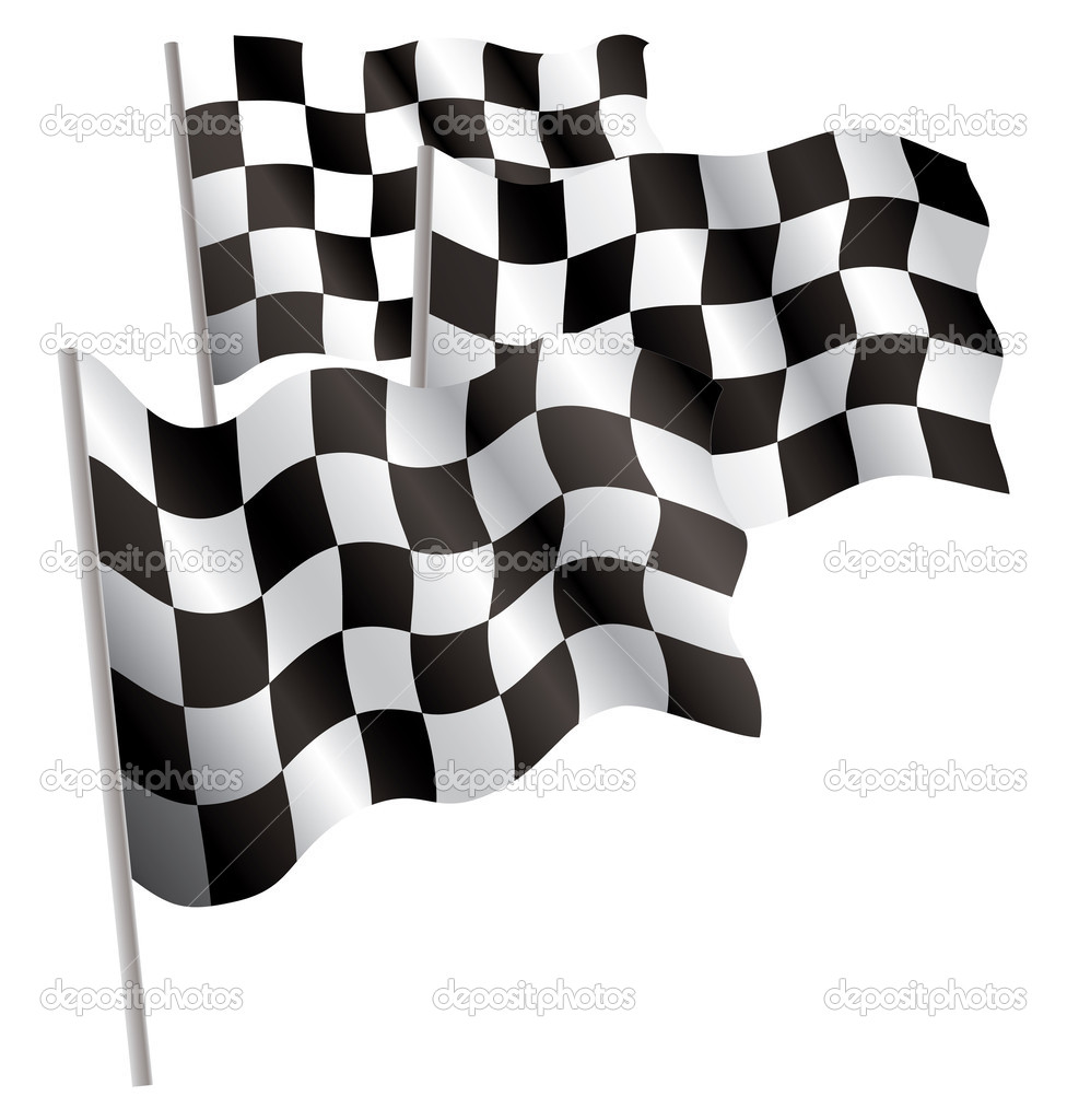 Racing-sport finish 3d flag. Vector illustration. Isolated on white.  Stock Vector #1005773