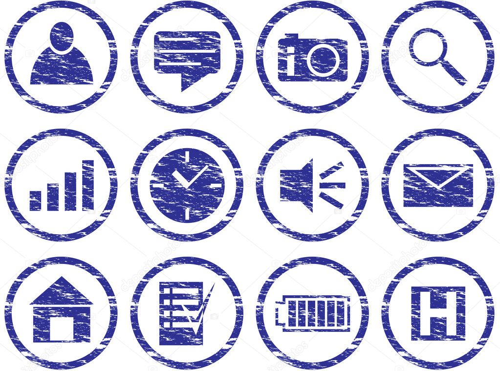 Gadget icons set. Grunge. White - dark blue palette. Vector illustration. — Stock Vector #1009539