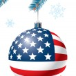 Stock Vector: Christmas ball with US flag.