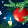 Royalty-Free Stock Векторное изображение: Christmas-tree branch and candle.