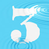 Digit in blue water. Raster illustration — Stock Photo