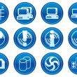 Gadget icons set. White - dark blue pale - Stock Vector