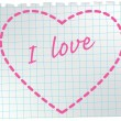Heart on notepad sheet. — Stock Vector