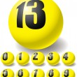 Numeric yellow balls. - Stock Vector