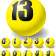 Numeric yellow balls. — Stock Vector