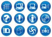 Gadget icons set. White - dark blue pale — Stock Vector