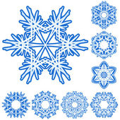 6-ışınları kristal degrade snowfla kümesi — Stok Vektör
