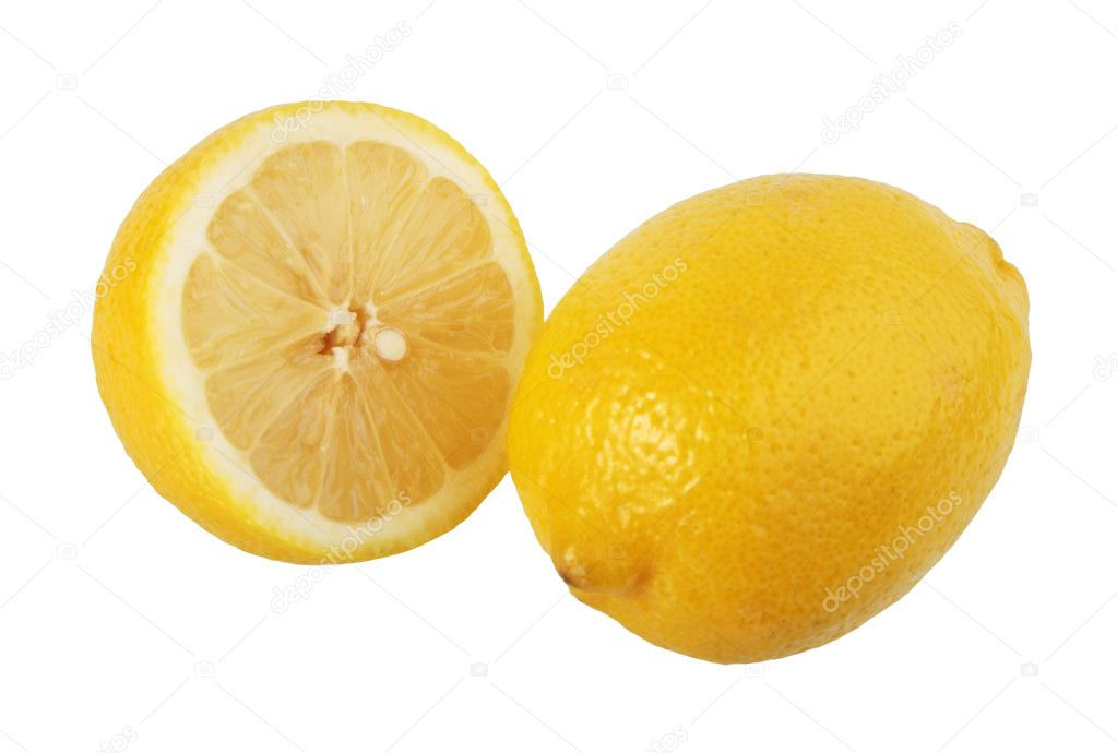 Section and single lemons. Close-up. Isolated on white background. — Stock Photo #1605860