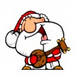 Happy santa banjo musician — Stock Photo
