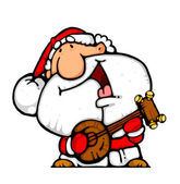 Happy santa banjo musician — Stock Photo