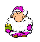 Santa Claus with gift — Stock Photo