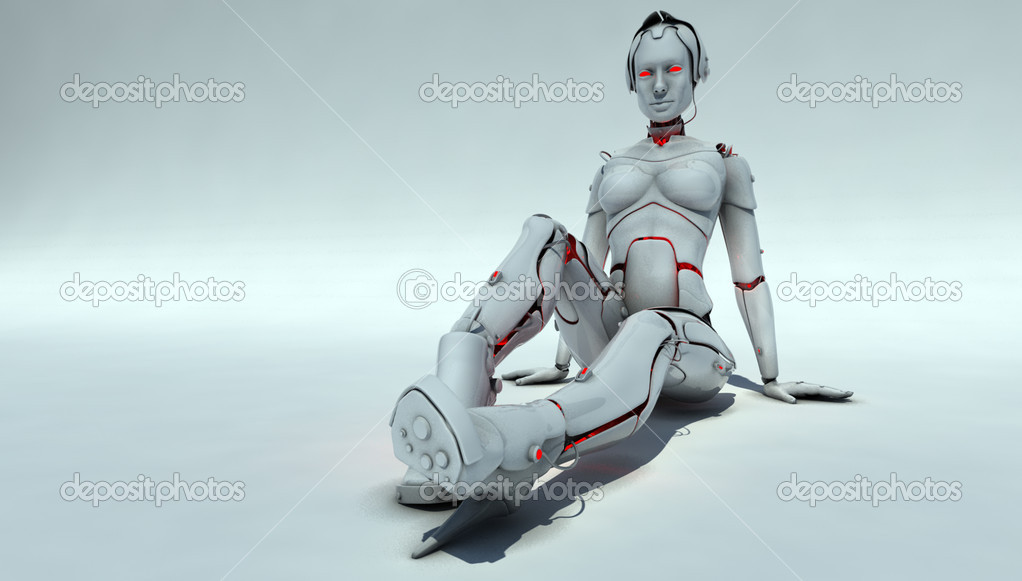 Futuristic cyborg woman is sitting, relaxing. 3D work — Stock Photo #1006686