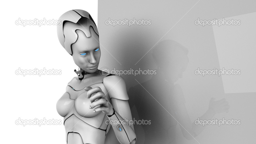Futuristic  girl is standing near the wall — Stock Photo #1006730
