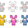Six Multicolored Easter Rabbits — Stock Photo