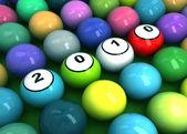 Billiard balls with figures 2010 — Stock Photo