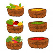 Baskets with healthy  food — Stock Photo