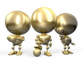 Three golden figures of footballers — Stock Photo