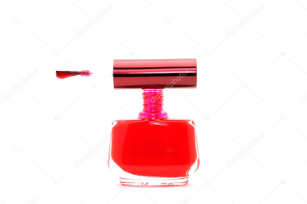 Red nail polish on white background — Stock Photo #1010403