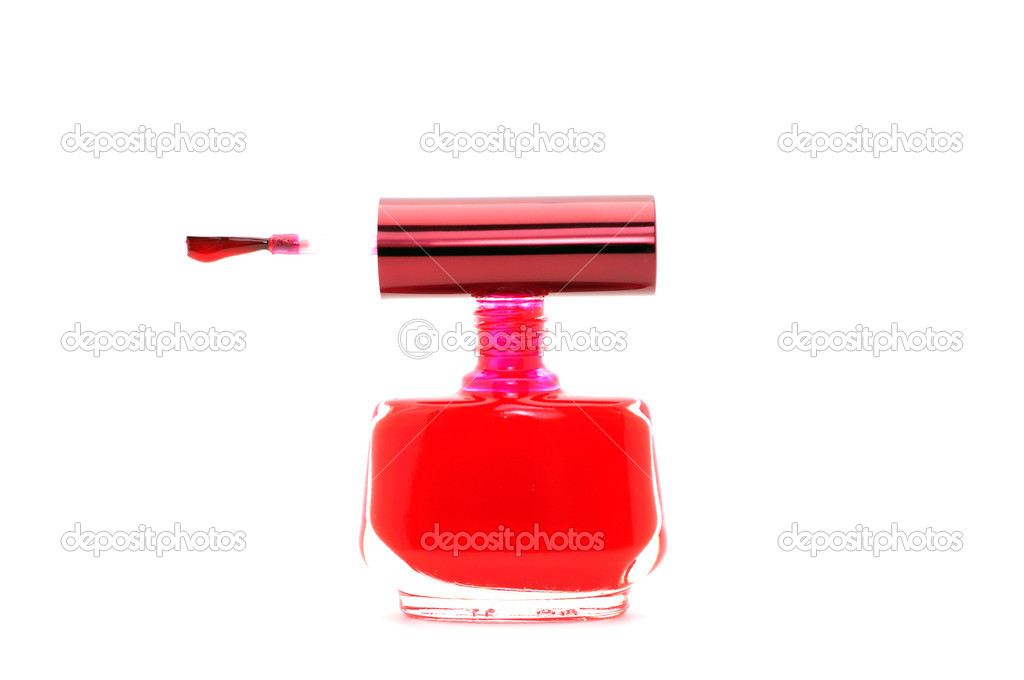 Red nail polish on white background  Photo #1010403
