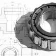 Stock Photo: Mechanical drawing and tools/ bearing
