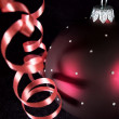 Streamer and xmas ball — Stock Photo