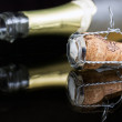 Closeup opened wine bottle and cork — Stock Photo