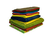 Colourful clothes stacked — Stock Photo