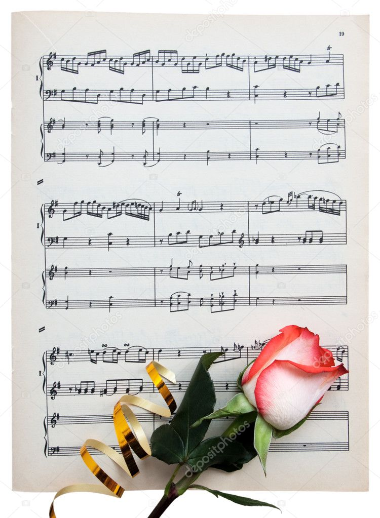 Fresh rose with a tape on a musical paper isolated from background — Stock Photo #1006847