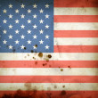 Stock Photo: Burned flag of USA