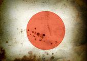 Burned flag of Japan — Stock Photo