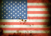 Burned flag of USA — Stock Photo