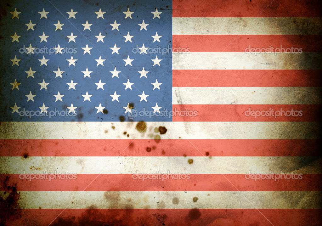 Flag of  USA on a burned old paper — Stock Photo #1025659